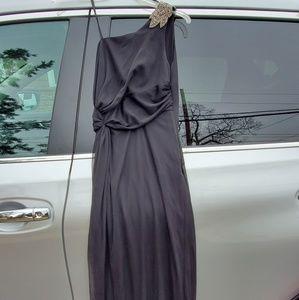 Black Floor Length One Shoulder Dress Beaded